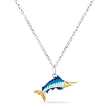 14KY & STERLING SILVER MARLIN WITH ENAMEL ON A 18 INCH SILVER CHAIN