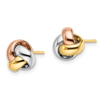 Leslie's 14k Tri-Color Polished Love Knot Earrings
