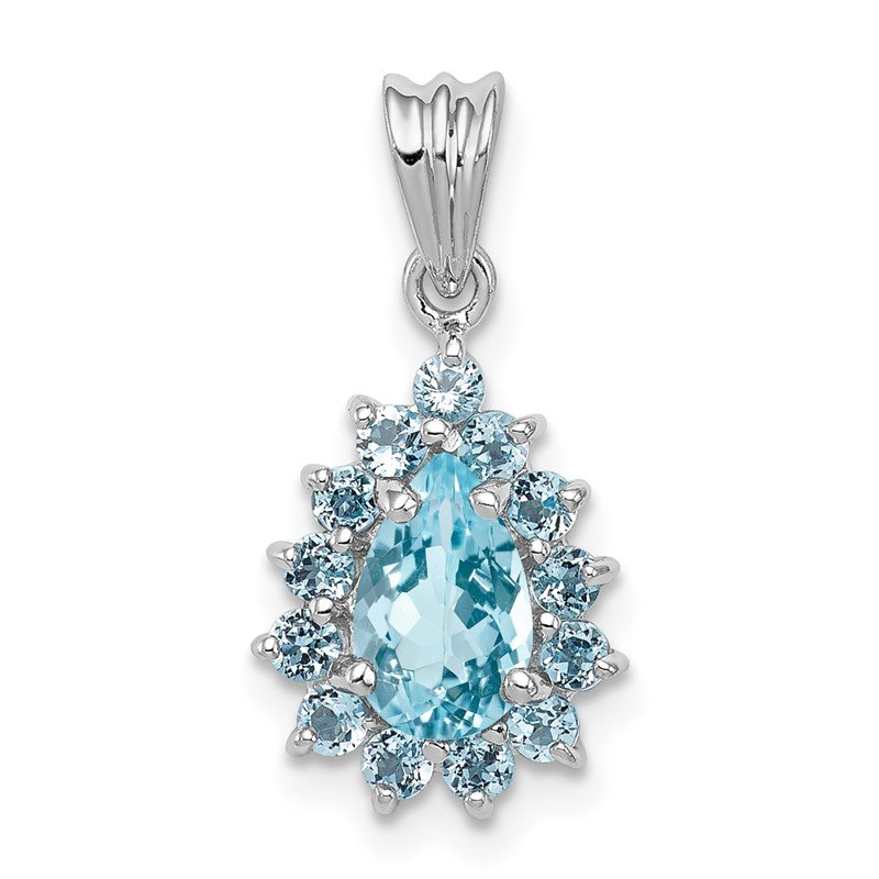 J.F. Kruse Signature Collection Sterling Silver Rhodium-plated Light Swiss Blue Topaz Pear-shaped Pendant