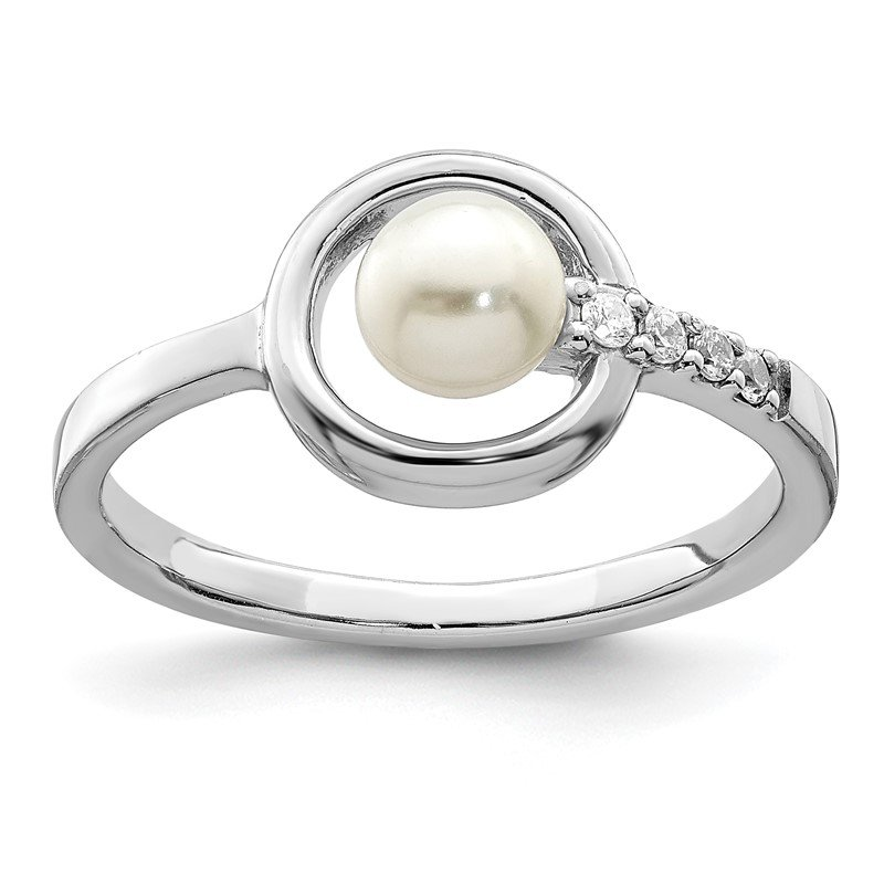 Quality Gold Sterling Silver Rhodium-plated CZ 5-6mm Button FWC Pearl in Circle Ring