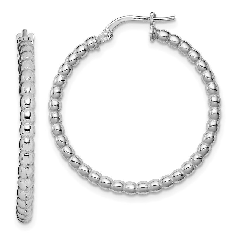 Fine Jewelry by JBD Sterling Silver Rhodium-plated Beaded 3x25mm Hoop Earrings