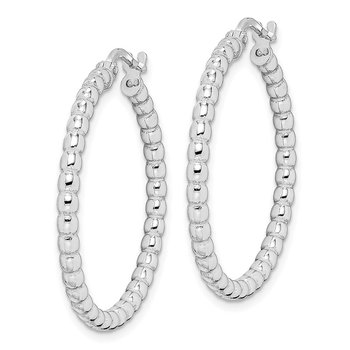 Sterling Silver Rhodium-plated Beaded 3x25mm Hoop Earrings