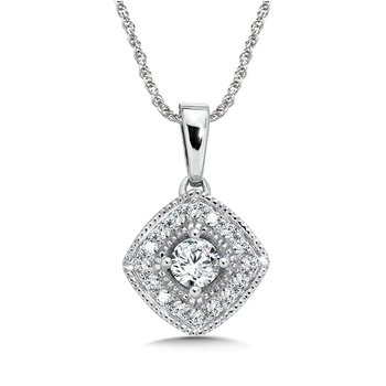 Pave set Diamond Cushion Shaped Halo Pendant, 14k White Gold  (1/3 ct. tw.) GH/SI1-SI2