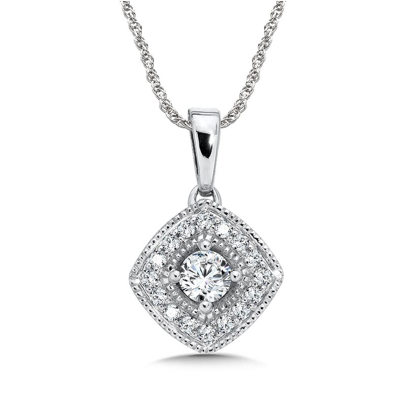 SDC Creations Pave set Diamond Cushion Shaped Halo Pendant, 14k White Gold  (1/3 ct. tw.) GH/SI1-SI2