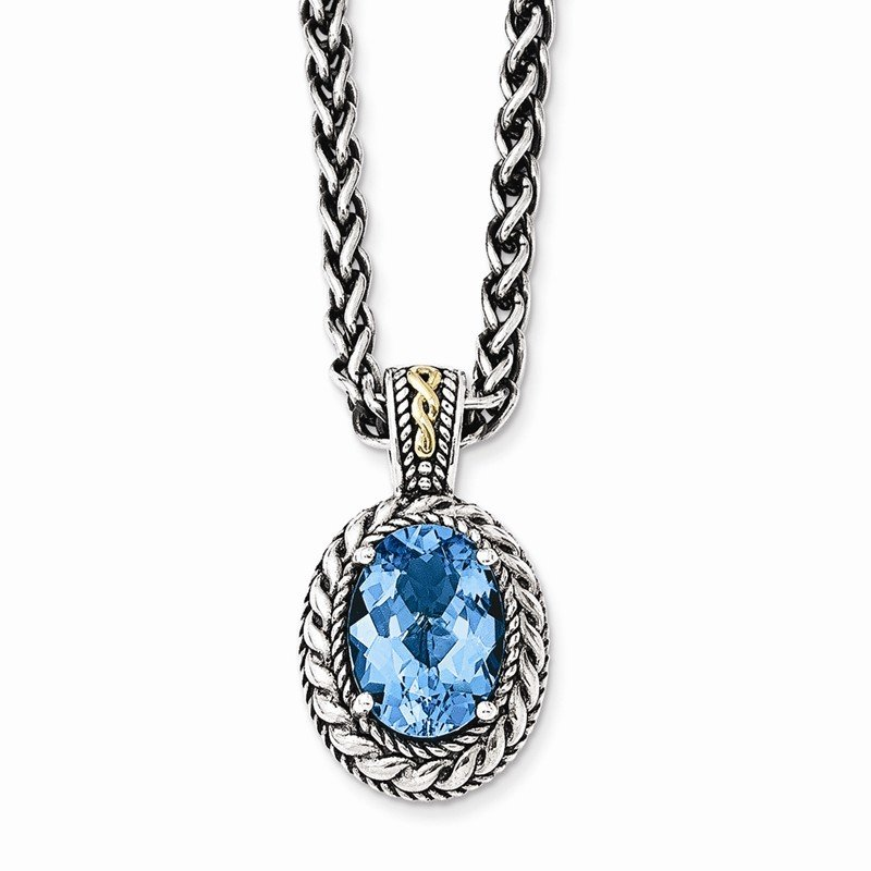 Shey Couture Sterling Silver w/14k Antiqued Blue Topaz Necklace