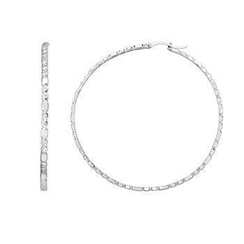 Silver 50x3mm  Bezel CZ Accent Hoops