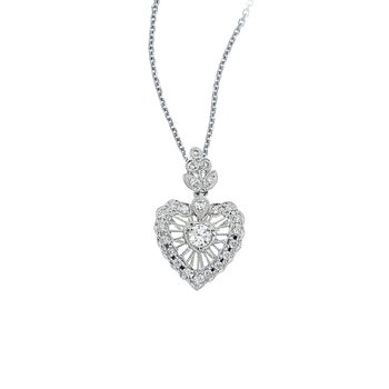 14K White Gold Vintage Inspired Diamond Heart Pendant (.38 carat)