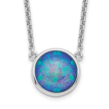 Sterling Silver Rhodium-plated Synthetic Blue Opal 18in Necklace