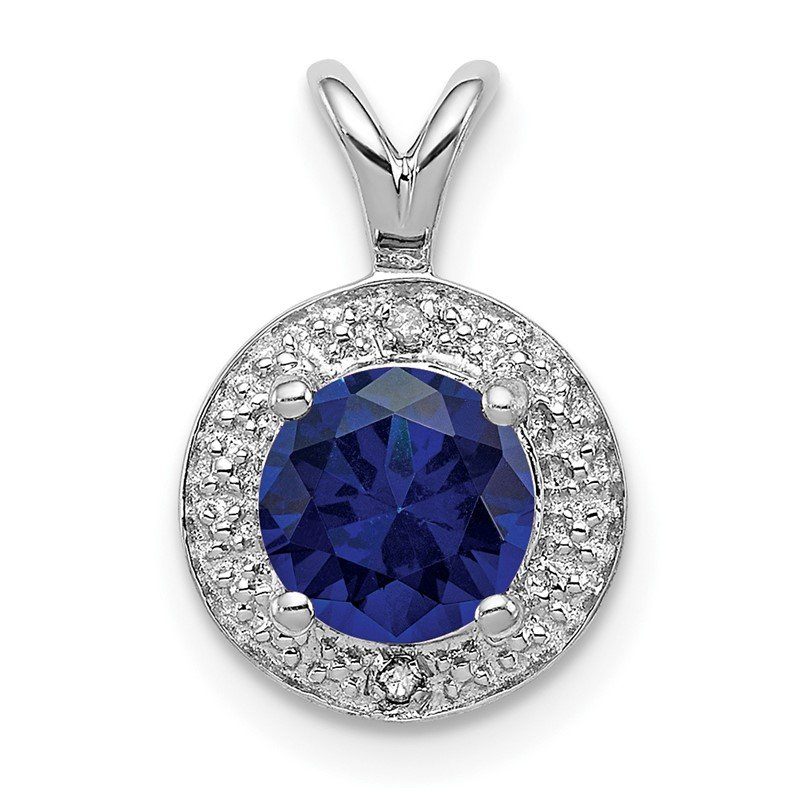 Quality Gold Sterling Silver Rhodium-plated Diam. & Created Sapphire Pendant