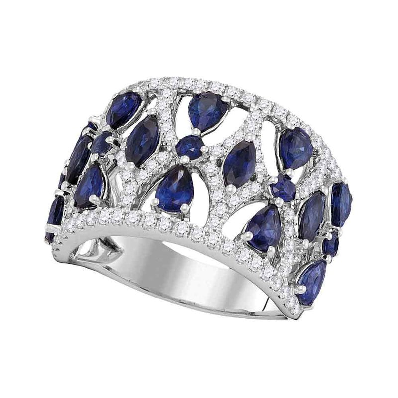Gold-N-Diamonds, Inc. (Atlanta) 18kt White Gold Womens Pear Prong-set Blue Sapphire Openwork Band 4.00 Cttw