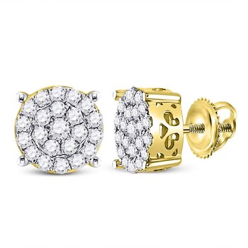 10kt Yellow Gold Womens Round Diamond Cindy's Dream Cluster Earrings 1/2 Cttw