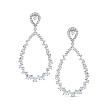 14K Diamond Open Pear Shape Earrings
