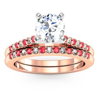 Cathedral Channel set Ruby & Diamond Wedding Band