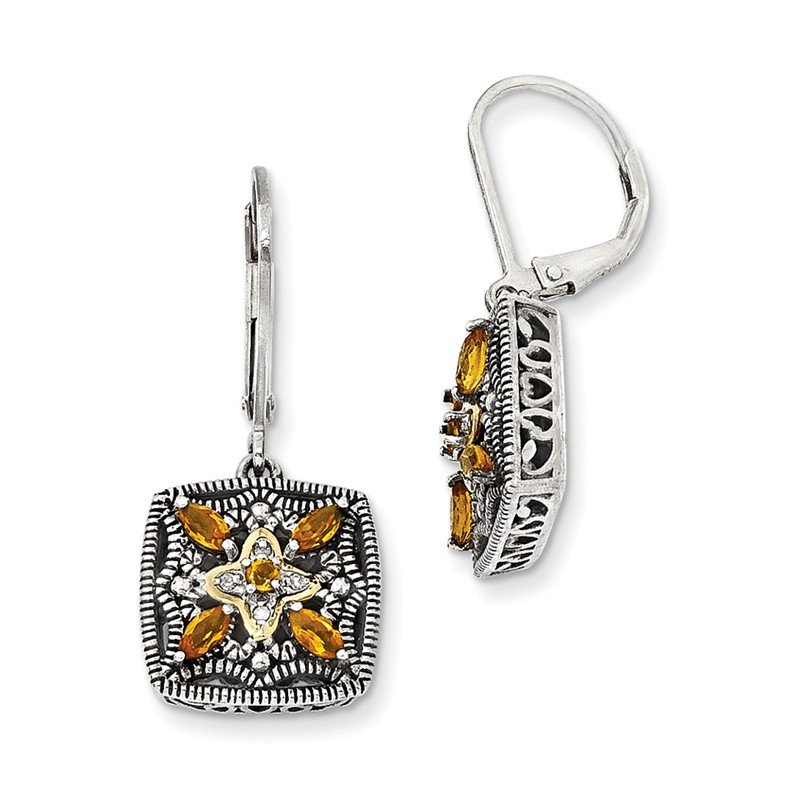 Shey Couture Sterling Silver w/14k Diamond & Citrine Earrings