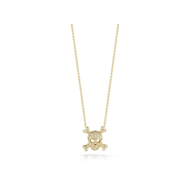Roberto Coin Skull And Crossbones Pendant With Diamonds &Ndash; 18K Yellow Gold