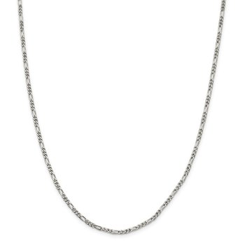 Sterling Silver 2.5mm Figaro Chain Anklet