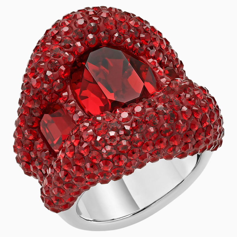 Swarovski Tigris Cocktail Ring, Red, Palladium plated