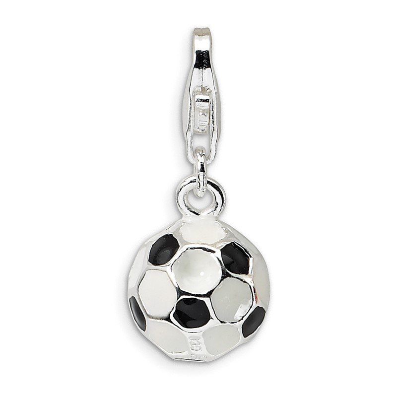 Quality Gold Sterling Silver RH 3-D Enameled Small Soccer Ball w/Lobster Clasp Charm