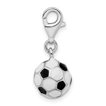 Sterling Silver RH 3-D Enameled Small Soccer Ball w/Lobster Clasp Charm
