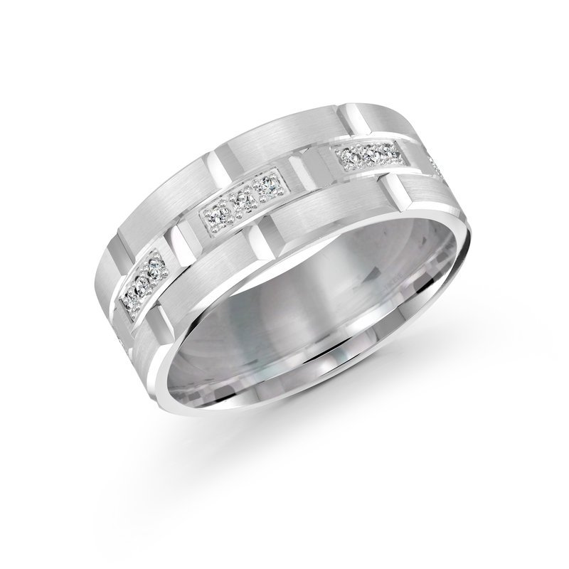 Mardini 9mm all white gold brick motif band, embelished with 24X0.015CT diamonds
