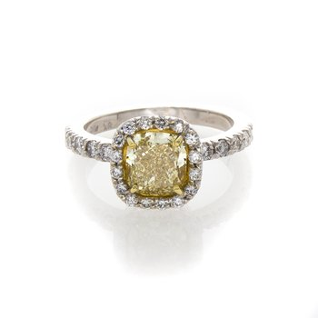 FANCY LIGHT YELLOW CUSHION 1.53 DIAMOND RING