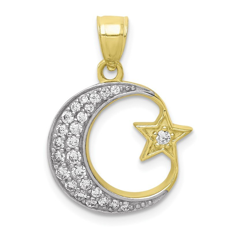 Quality Gold 10K w/Rhodium CZ Moon and Star Pendant