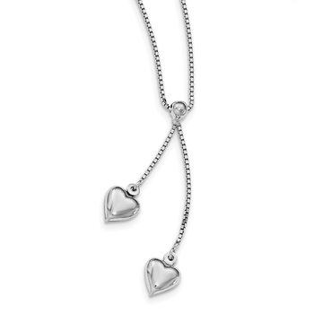 Sterling Silver Rhodium-plated Polished Heart Tassel Necklace