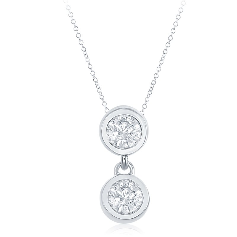S. Kashi  & Sons White Gold Two Stone Pendant