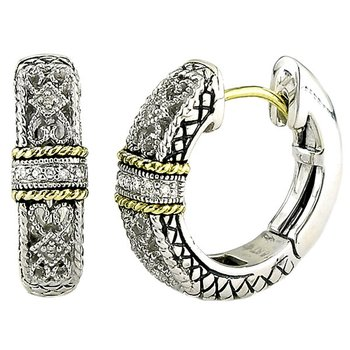 18kt and Sterling Silver Filigree Pave Diamond Single Station Hoop Earrings