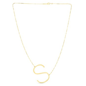 14K Gold Large Initial S Necklace