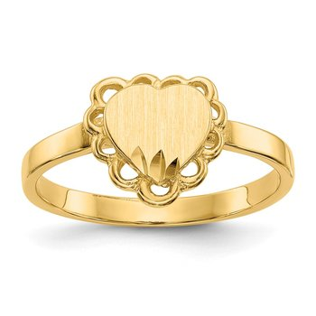 14k 6.5x7.0mm Open Back Heart Signet Ring