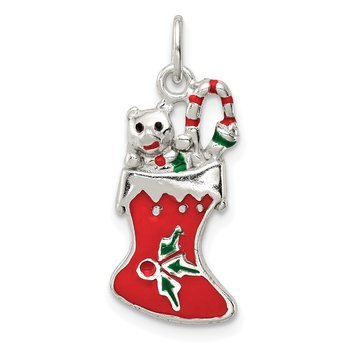 Sterling Silver Polished Enamel Christmas Stocking Pendant