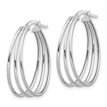 14k White Polished Triple Oval Hoop Earrings
