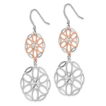 Leslie's Sterling Silver Rose-tone 18K Flash-plated Dangle Earrings