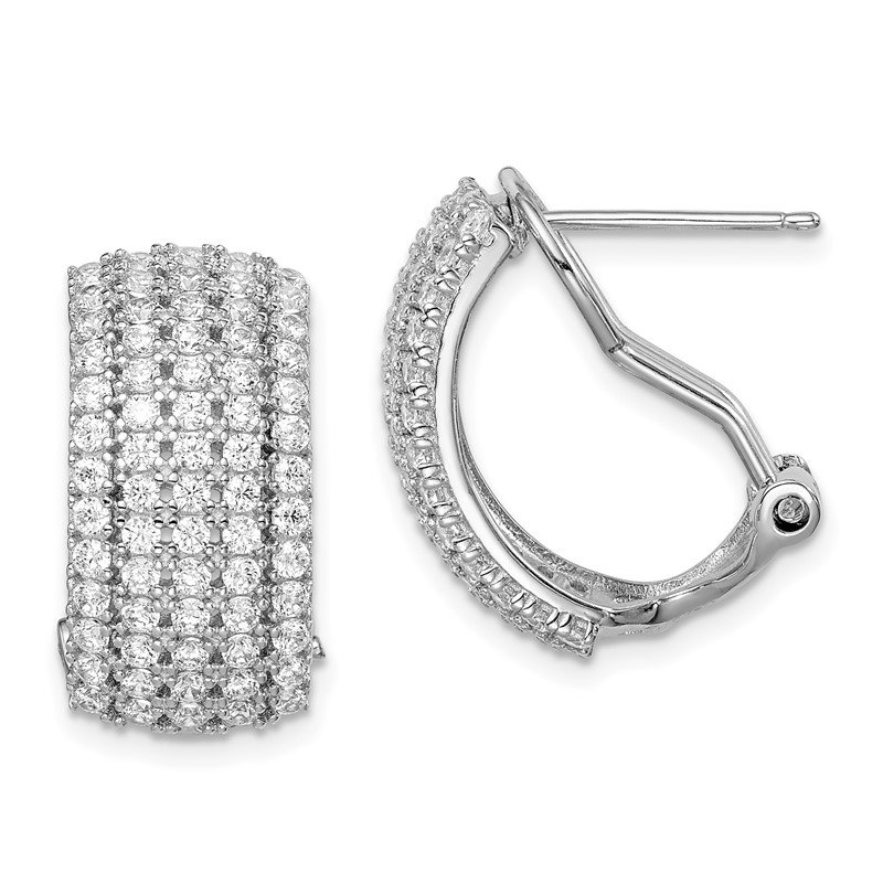 Quality Gold Sterling Silver Rhodium-plated CZ 5-row Omega Back Earrings