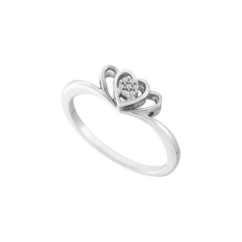 10kt White Gold Womens Round Diamond Heart Love Ring .03 Cttw