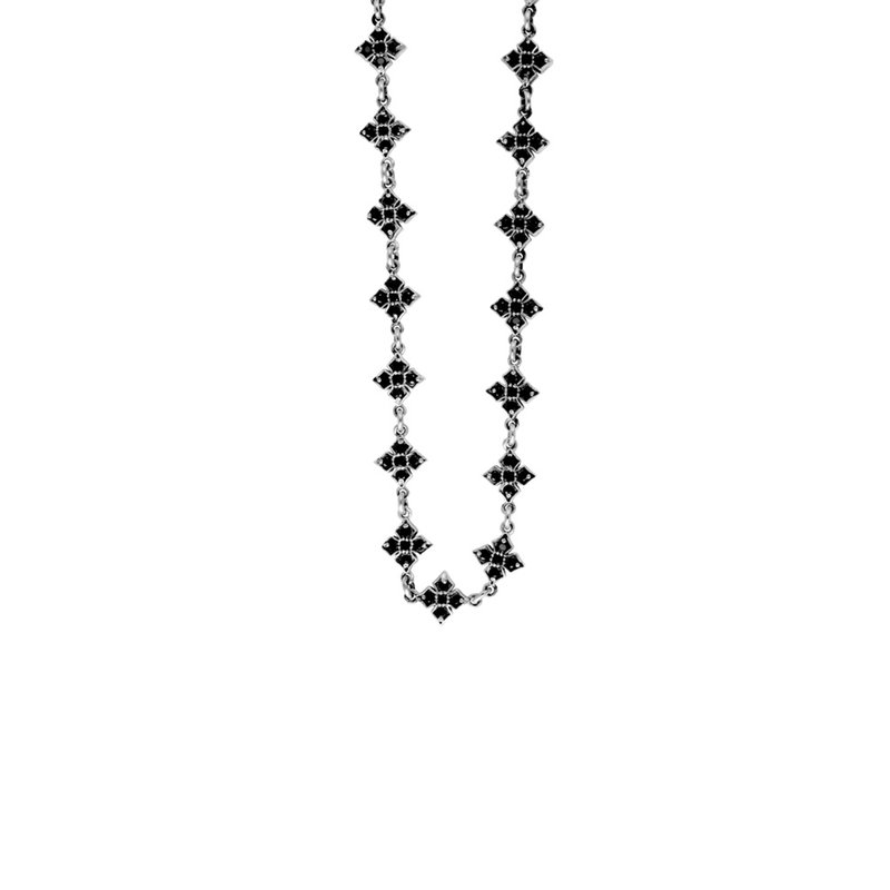 King Baby Small Mb Cross Chain Necklace W/ Black Cz Stones
