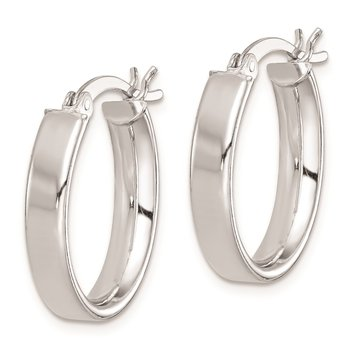 Sterling Silver Rhodium Plated Hoop Earrings