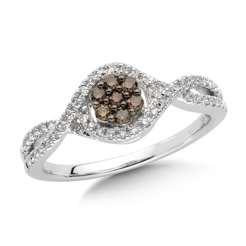 SDC Creations Pave set,  Cognac and White Diamond Cluster Ring with a  Bypass Design set in 14k White Gold (3/8 ct. tw.)