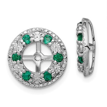 Sterling Silver Rhodium Created Emerald Earring Jacket