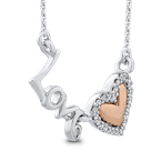 Essentials 10K White & Rose Gold .07 Ct Diamond Heart Pendant with Chain