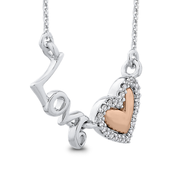 10K White & Rose Gold .07 Ct Diamond Heart Pendant with Chain