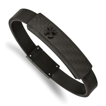 Stainless Steel Brushed Black IP w/Solid Carbon Fiber Leather 8.25in Bracel