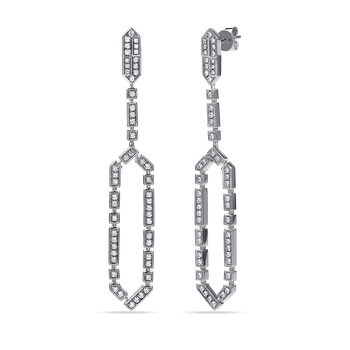 14K art deco drop earrings with 104 diamonds 1,26ct