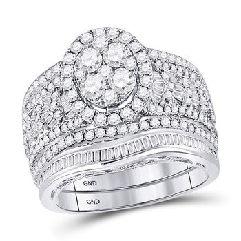 14kt White Gold Womens Round Diamond Oval Bridal Wedding Engagement Ring Band Set 2.00 Cttw