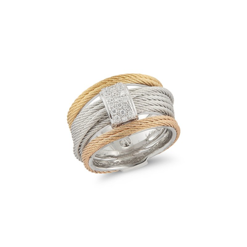 ALOR Rose, Yellow, & Grey Cable Simple Stack Ring with 18kt White Gold & Diamonds