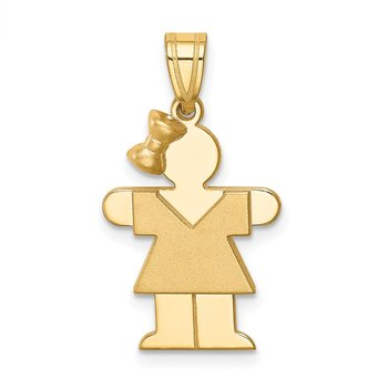 14k Solid Engravable Girl w/ Bow on Left Charm