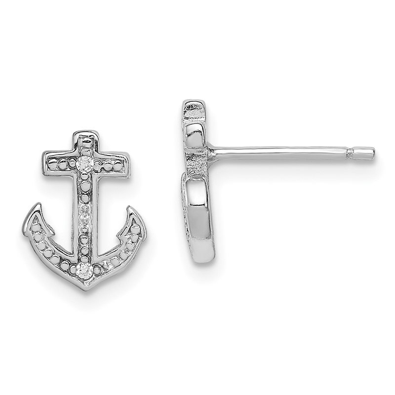 Quality Gold Sterling Silver Rhodium-plated Polished CZ Anchor Post Earrings