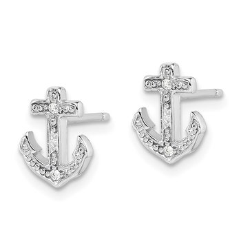 Sterling Silver Rhodium-plated Polished CZ Anchor Post Earrings