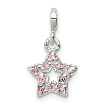 Sterling Silver Pink CZ Star Enhancer